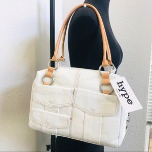 HYPE White Pebble Genuine Leather Tote Bag